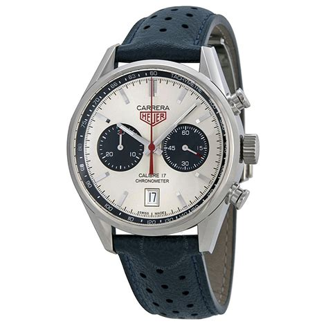 tag heuer silver chronograph blue leather