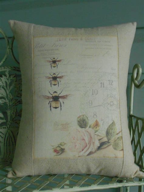 French Bee Shabby Chic Pillow Cover With Pillow Form French Shabby Chic Pillow Covers