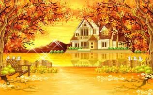 free foliage animated autumn fall leafs house scene ebay