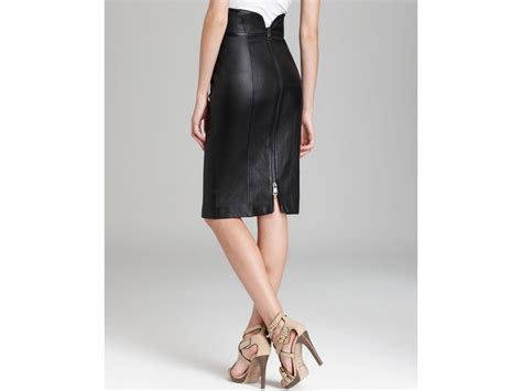 burberry skirt leather high waist pencil in black