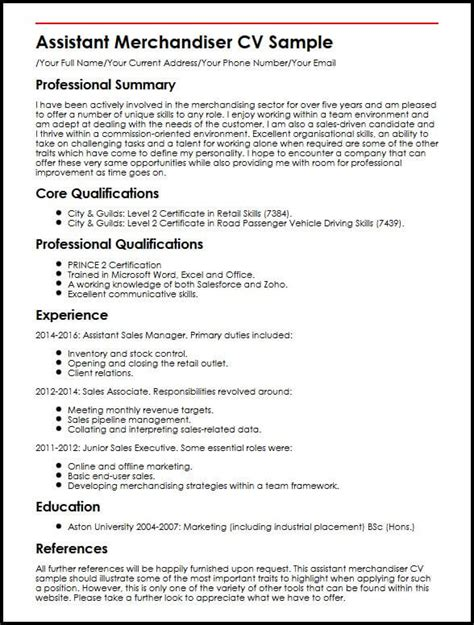 Merchandiser Resume by Assistant Merchandiser Cv Sle Myperfectcv