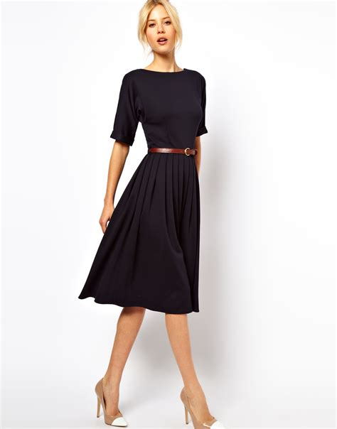 asos midi dress with skirt and belt in blue navy lyst