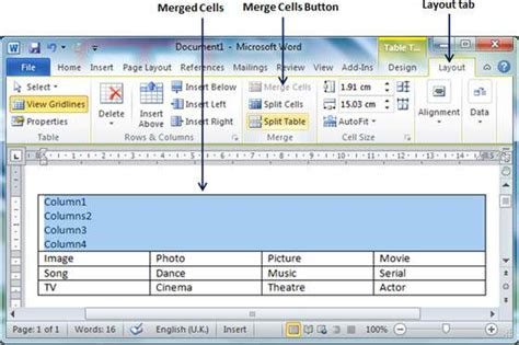 merging table cells in word 2010