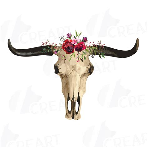 watercolor floral longhorn bull skull clipart indian tribal