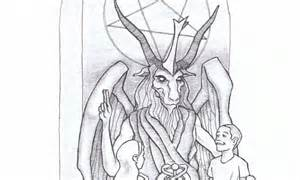 satan worshipers  statue  devil  baphomet put