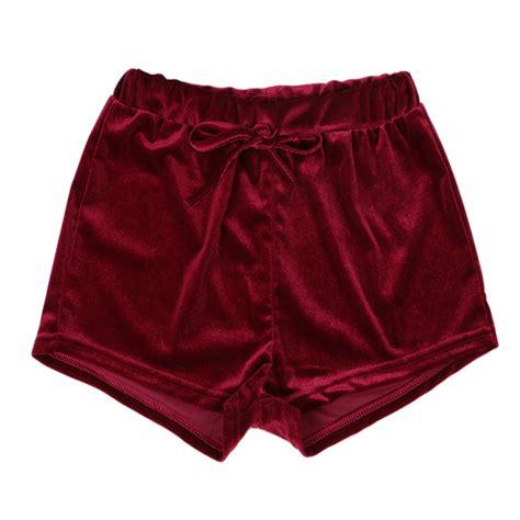 velvet shorts fashion crushed velvet runner casual shorts