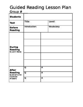 small guided reading lesson plan template this is an easy to use guided reading lesson plan template