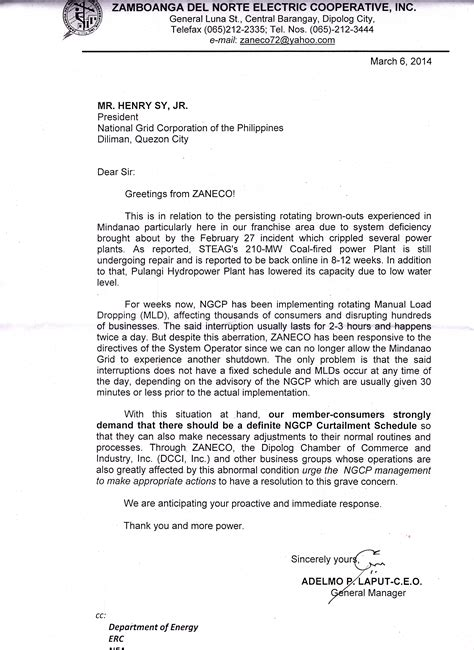 Demand Letter Philippines Zamboanga Norte Electric Cooperative Inc Gm Laput Sends Demand Letter To Ngcp Regarding