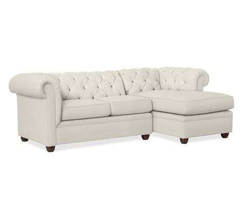 Pottery Barn Chaise Lounge chesterfield upholstered sofa with chaise sectional pottery barn