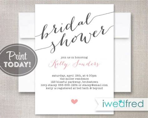 Bridal Shower Invitation Bridal Shower Invitation Printable Bridal Shower Invitation Diy Wedding Shower Invitations Templates Free