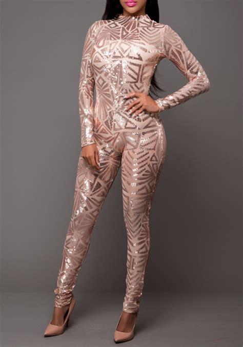 rose gold geometric sequin  neck long sleeve fashion