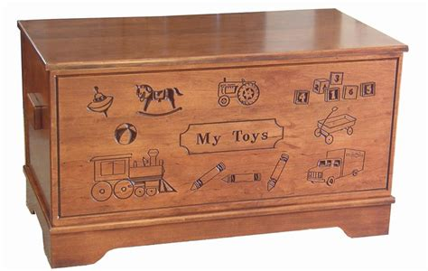 amish hardwood carved toy chest
