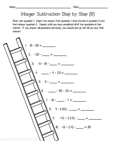 printable games with integers integer subtraction self checking worksheets