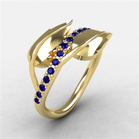10k yellow gold blue sapphire leaf and vine wedding ring