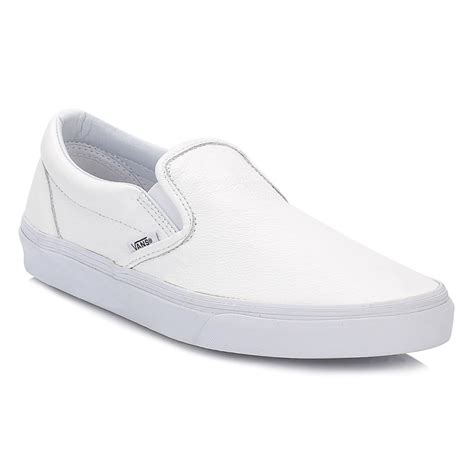 vans mens womens white classic slip on leather trainers