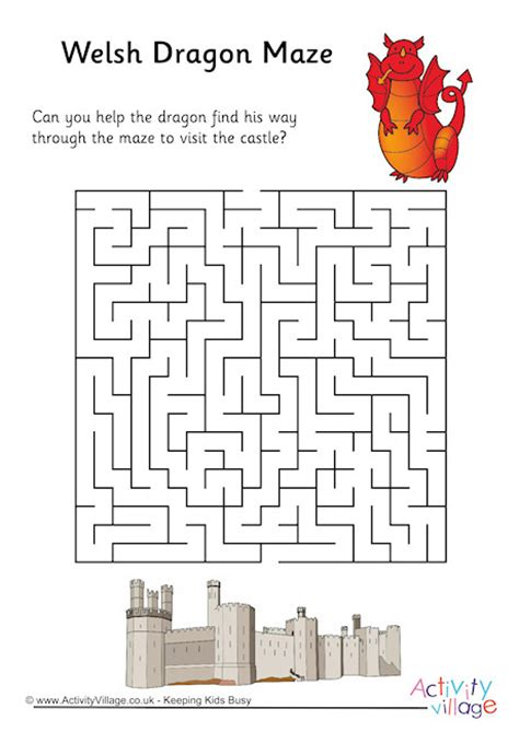 printable dragon mazes welsh dragon maze