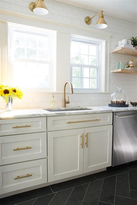 White and Gold Kitchen with Black Range Hood   Contemporary   Kitchen