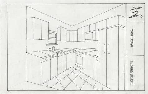 Kitchen 2 Point Perspective by پرسپکتیو هایی از آشپزخانه
