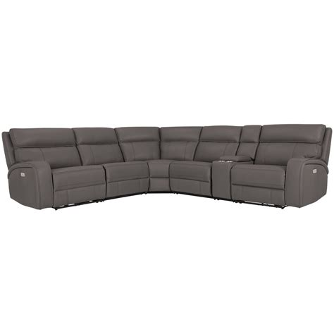 Reclining Sectional Microfiber by City Furniture Rhett Gray Microfiber Small Two Arm Power