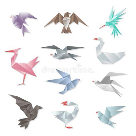 Origami Birds Flying - origami bird set vector 3d abstract paper flying birds