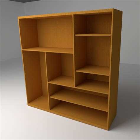 multi level bookshelf 3d model ready blend
