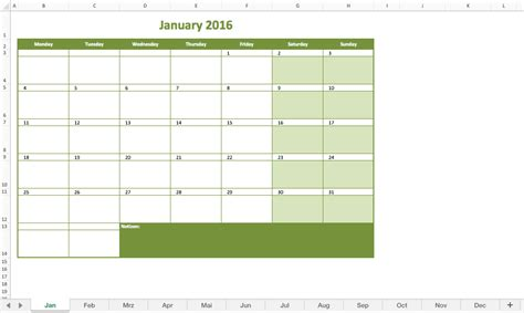 Free Excel Calendar Template by Monthly Calendar 2016 Excel Excel Templates For Every
