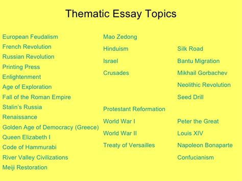 Nationalism Thematic Essay by Mr Carr Class
