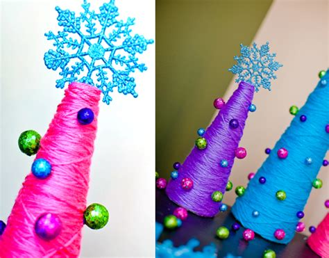 yarn christmas trees diy craft