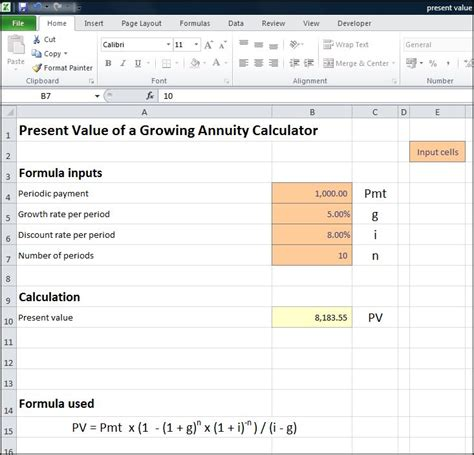 present value of a growing annuity calculator