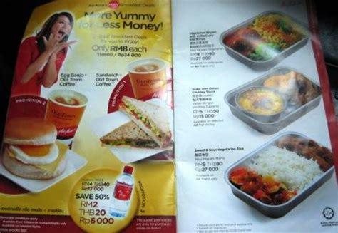airasia menu air asia in flight food menu