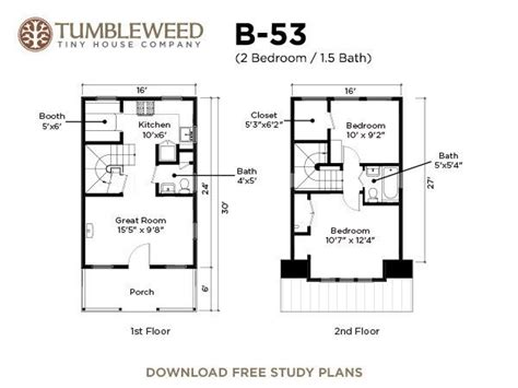 tumbleweed tiny house floor plans b 53 plans