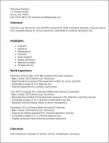 Resume Format Lab Technician Professional Chemistry Lab Technician Templates To Showcase Your Talent Myperfectresume