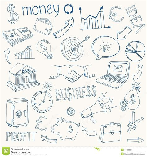 how to create money in doodle set of vector business and money icons stock vector