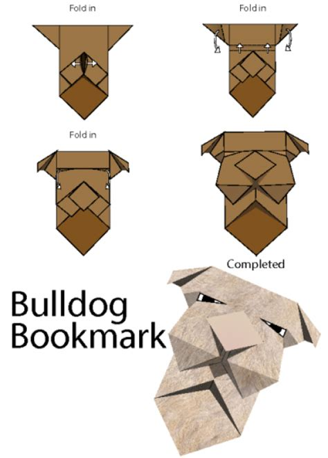 Bulldog Origami - how to make origami bulldog bookmark kidspressmagazine