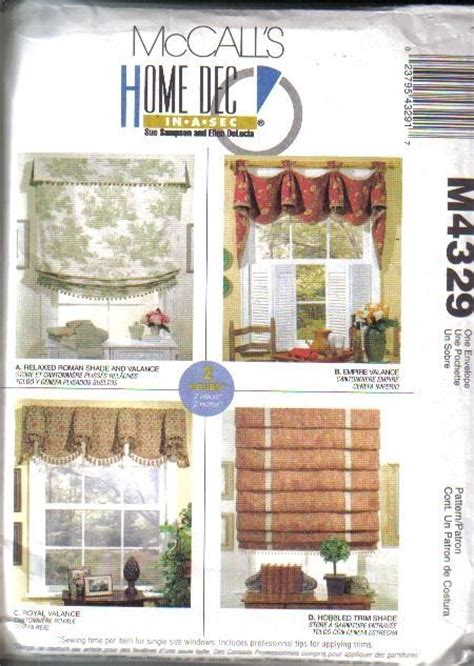 sewing patterns home decor oop mccall s sewing pattern home d 233 cor window treatment