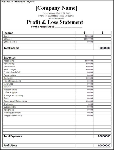 Profit And Loss Statement Template Free Profit And Loss Statement Template Free Word Templates