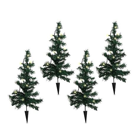lighted pathway trees set of 4 bed bath beyond