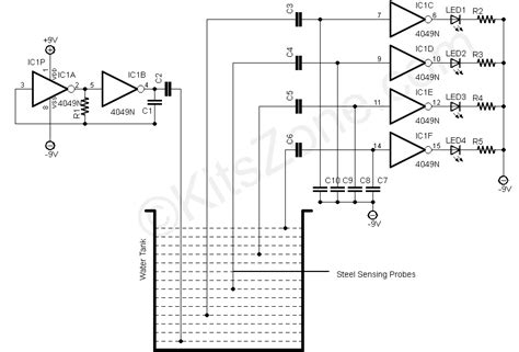 why resistors are used in water level indicator water level detection sensing using 4049 ic water level indicator circuits tank level