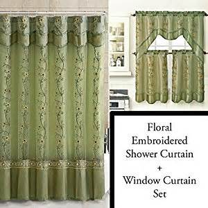 Green Bathroom Window Curtains Green Shower Curtain And 3 Pc Window Curtain Set Bathroom Decor Set
