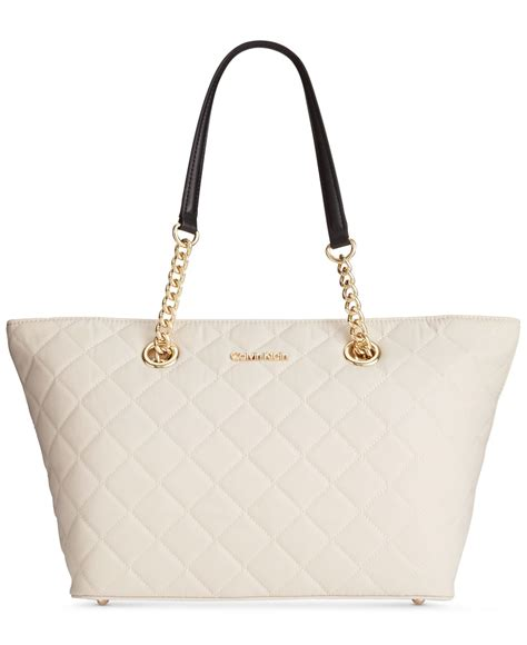 7886 Black White Tote Bag lyst calvin klein dressy quilted tote in white