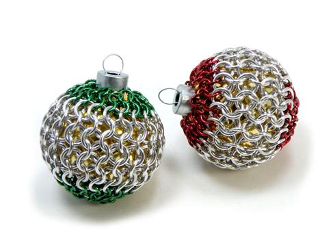 christmas tree ornaments red and green chainmaille covered