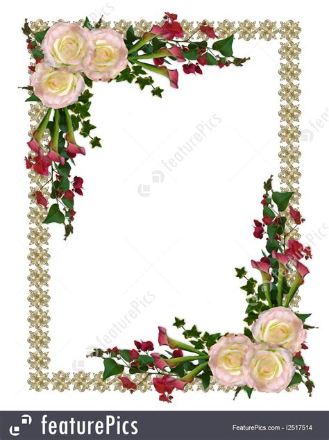 templates wedding invitation floral border stock