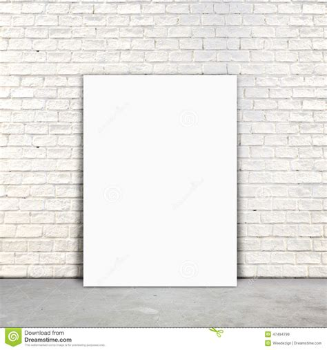 wall post template blank poster paper standing next to a white brick wall