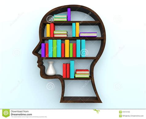 3d human shape bookshelf and books stock illustration