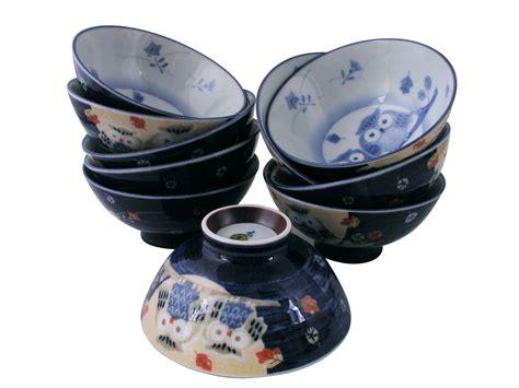Kitchen Canisters Ceramic Sets idyllic owls multi colored ceramic japanese rice bowl set