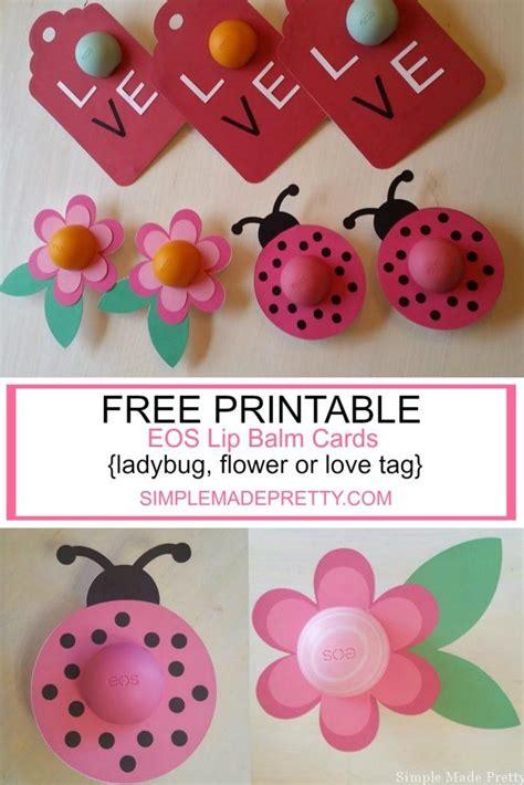 eos lip balm free printable cards flower ladybug and love tag eos lip balm cards as digital