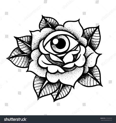 old style rose tattoo school with eye traditional black dot