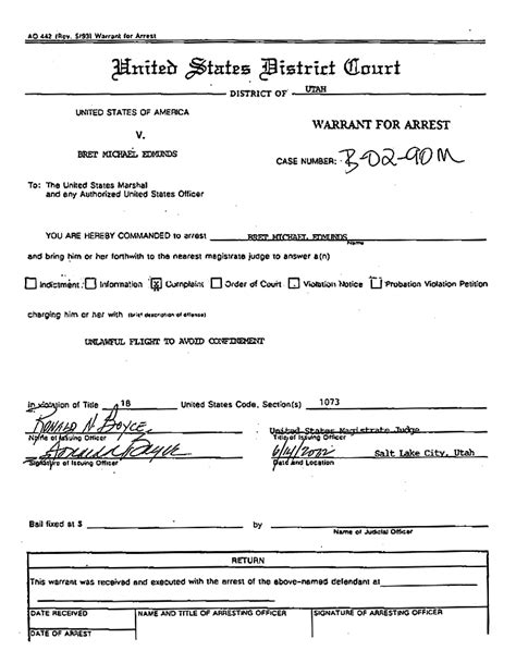 Federal Arrest Warrant Search Bret Michael Edmunds Arrest Warrant The Gun