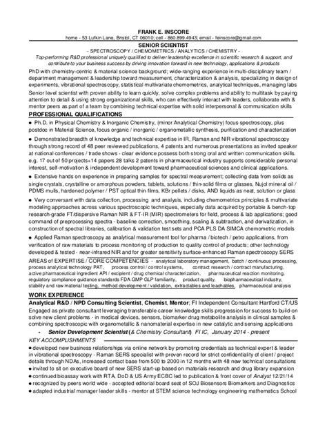Sle Resume Of Quality Chemist R D Chemist Resume 56 Images 1d1 Fei Resume R D Sr