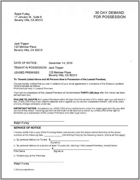 printable eviction notice ontario 30 day notice template eviction notice template virginia